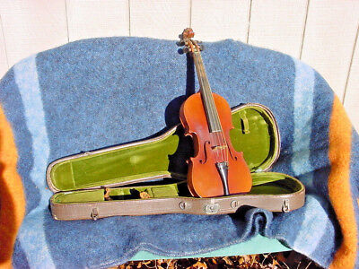 ANTIQUE  VIOLIN 4/4 FULL SIZE AND OLD BOW AND OLD CASE C1900 Czecho-Slowakia