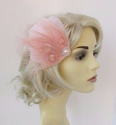 Blush Light Pink Silver Feather Fascinator Hair Clip Races Wedding 1920s 4652