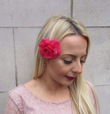 Cerise Pink Rose Flower Hair Clip Fascinator 1950s Rockabilly Bridesmaid 4380