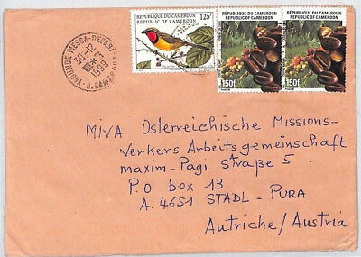 CA196 1999 Cameroon COFFEE BEANS Airmail BIRDS Cover MISSIONARY VEHICLES PTS