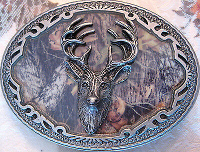 Vintage New Official Licensed Mossy Oak Camo Deer Head 2006 Pewter  Belt Buckle