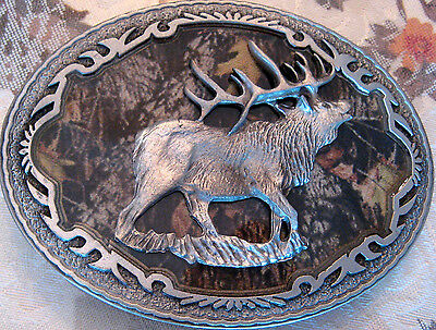 Rare New Official 2006 Licensed Mossy Oak Camo Elk 3D Pewter Belt Buckle