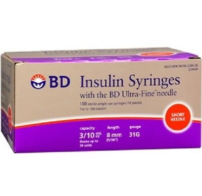 Insulin Syringe with Ultra-Fine Needle, 31G x 5/16'', 3/10 mL, Box of 100 *NEW!*