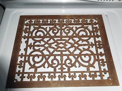 "VINTAGE ANTIQUE CAST IRON ORNATE HEATER VENT GRATE COVER 17' x 14"" PERFECT"