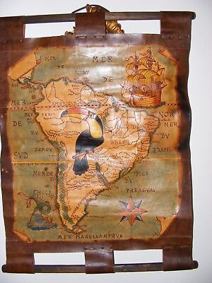Vintage Hand Made Leather Map South America Wall Hanging Scroll Pirate Interest