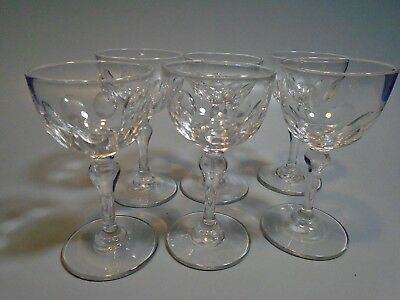 Early 20Th Century Edwardian Set Of 6 Crystal Thumb Print Port Glasses Handmade