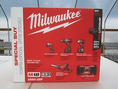 **Special Buy** Milwaukee  M18 18-Volt Lithium-Ion Cordless Combo Kit (5-Tool)