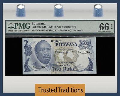 TT PK 2a ND (1976) BOTSWANA 2 PULA PRESIDENT KHAMA PMG 66 EPQ POP 1 FINEST KNOWN