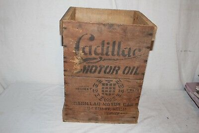 Rare Vintage 1920's Cadillac Summer Motor Oil Wood Crate 5 Gallon Can Box Sign