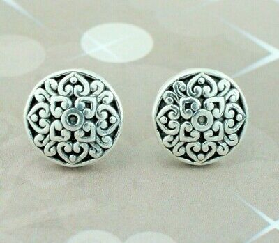 925 Sterling Silver Oxidised Antique Style Patterned Button Stud Earrings