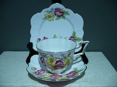 Salisbury Bone China Hand Painted Floral Trio - Cup Saucer Plate - Vintage - Vgc