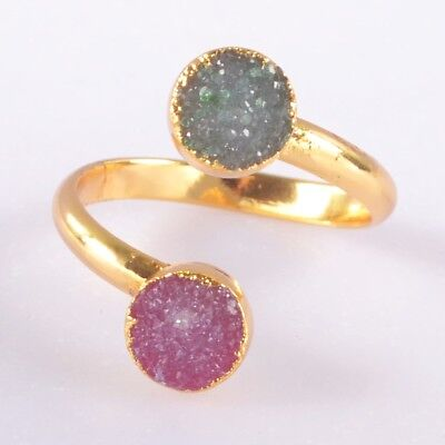 Size 8 Hot Pink Agate Druzy Geode Adjustable Ring Gold Plated T049097