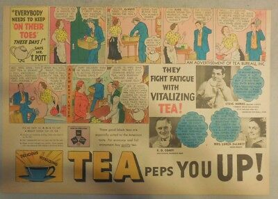 "Tea Ad: ""Tea Peps You Up! "" On Their Toes !  from 1930's-1940's 11 x 15 inches"