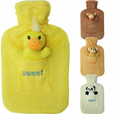 2L Large Rubber Hot Water Bottle With Warm Fleece Fur Animal Cover Toy 2 Litre