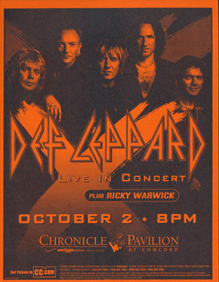 Def Leppard Ricky Warwick Chronicle Concord CA Pavilion 2003 Flyer Orange
