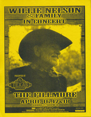 Willie Nelson and Family Fillmore San Francisco 2007 Flyer Yellow