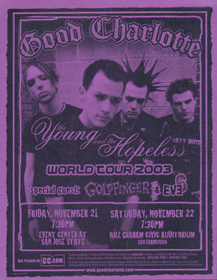 Good Charlotte Goldfinger Eve 6 San Jose State 2003 Tour Flyer Purple