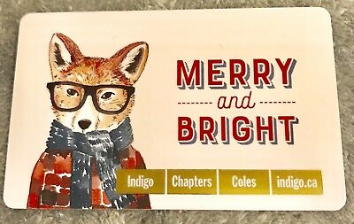 """Chapters Indigo Gift Card """"Merry And Bright Fox"""" No Value Holiday 2017 New Coles"""