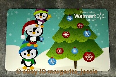 "Walmart Canada 2017 Gift Card ""Christmas Tree Decorating Penguins"" No Value New"