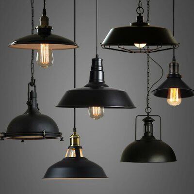 Industrial Loft Warehouse Barn Pendant Lamp Indoor Hanging Ceiling Light Fixture