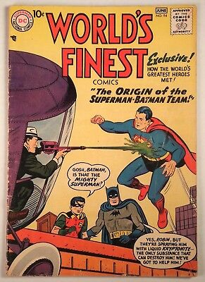 "World's Finest Comics #94 (DC 1958) FN+ ""The Origin of the Superman-Batman Team"""
