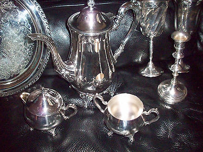 Lot 8 Pieces of Silver Plated Coffee Pot, Cream, Sugar, Tray, Goblets, Candle