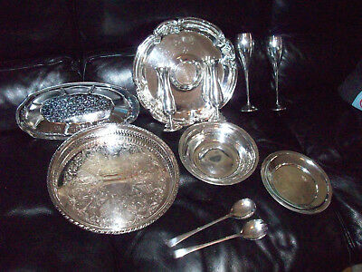 Lot 11 pieces of Silver Plated Trays, Goblets, Utensils Bud Vase Candle Holders