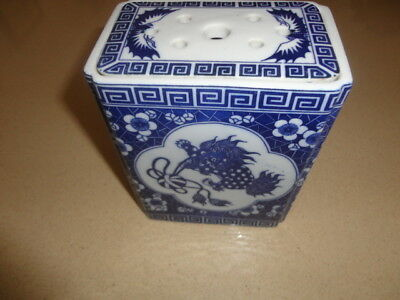 Antique Chinese Rectangular Blue & White Porcelain Flower brick