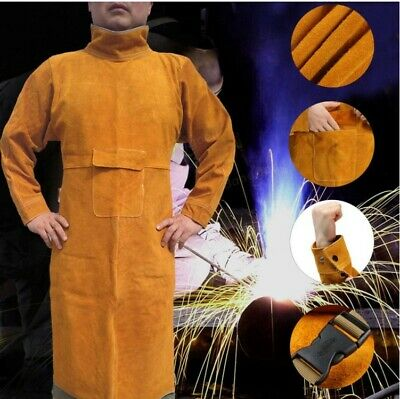 Durable High-necked Cowhide Welding Long Apron Protective Clothing Cow Leather