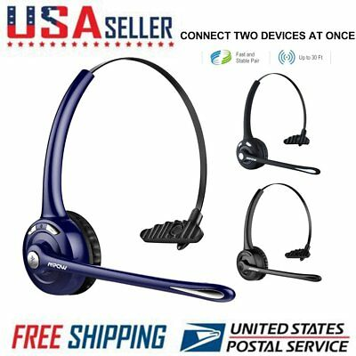 Mpow Pro Trucker Bluetooth Headset with Mic Call Center 4X Noise Cancellation US