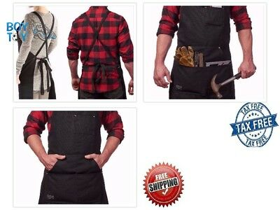Waxed Canvas Work Apron with Tool Pockets Black Cross Back Straps Adjustable