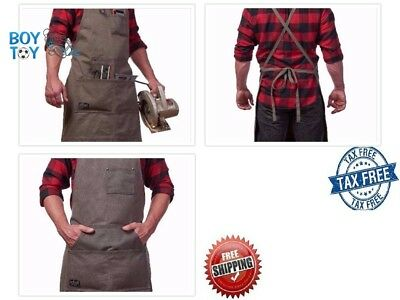 Waxed Canvas Work Apron with Tool Pockets Grey Cross Back Straps for Men Women