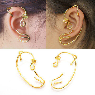 UK Beauty and The Beast Belle Cosplay Rose Earrings Ear Cuff Copper Gold Alloy