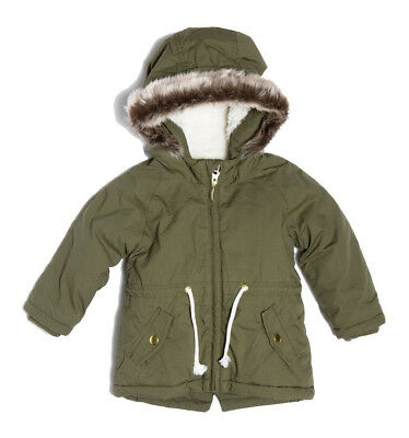 Baby Toddler Girls Parka Jacket Coat Khaki Green Up to 18 Months - 3 Years