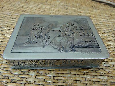 Antique French Silver Over Copper Etched Box 'en Visite' F Biscay