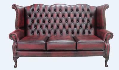 Chesterfield 3 Seater Queen Anne High Back Sofa Settee Antique Oxblood Leather