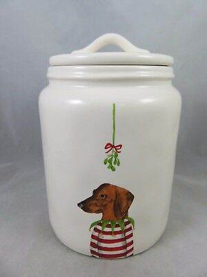 Rae Dunn / Magenta - Mistletoe Dachshund Dog - Christmas Canister Jar - Decor