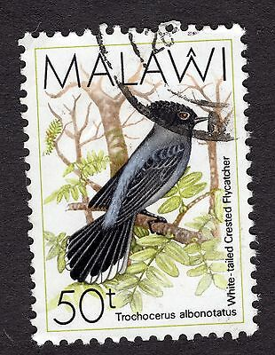 1988 Malawi Birds White tailed crested flycatcher 50T SG 799 FINE Used R30058