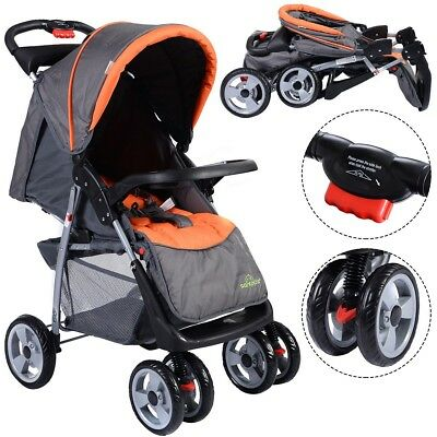 Folding Baby Carriage Kids Travel Stroller Sleeping Cushion Equipped 3 Color US