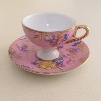 Vintage Miniature Cup and Saucer - Pink Flowers Gold Trim - England