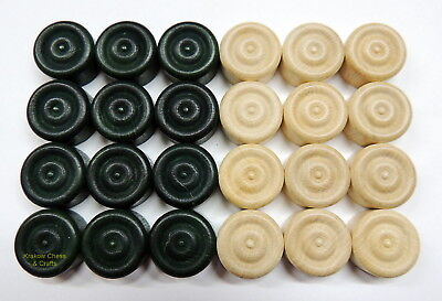 Brand New Set Of 24 Green And White Draughts/ Checkers Pieces 20Mm