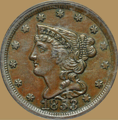1853 Braided Hair Half Cent, PCGS AU-55, OGH