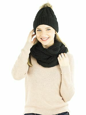 Exotic Identity Women's Cable Knit, 2 Piece 'Snow Angel' Gift Set - Infinity ...