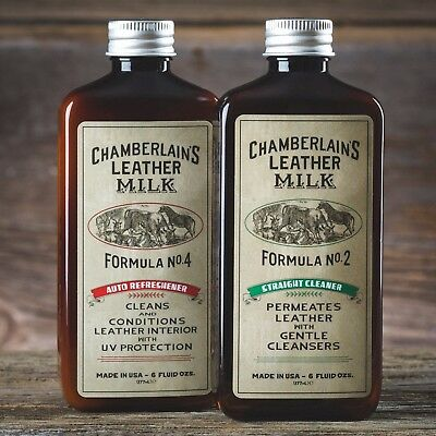 Chamberlain's Leather Care Straight Cleaner No 2 and Auto Refreshener No 4 Combo