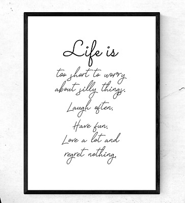 Inspirational Motivational Quote Poster Wall Art A4 Print ~Life is~ gift