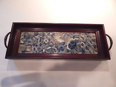 Antique Wooden Tray With Embroidery Under Glass