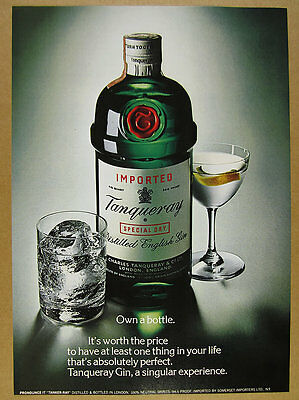 1975 Tanqueray Gin 'Own a Bottle' cocktails color photo vintage print Ad