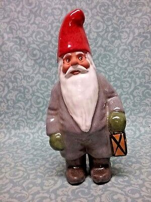 """Rolf Berg Sweden Gnome Man figurine signed 9-1/2"""" tall w label"""