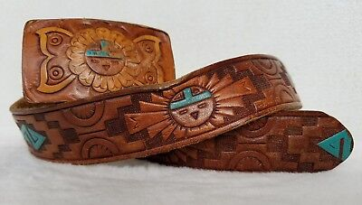 Leather Belt Hand Painted Hand Tooled Native American Matching Buckle