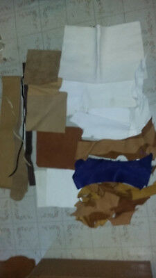 Lot Of Scrap Deer Skin Leather White Tan Cream Powwow Crafts Pouches Crafters